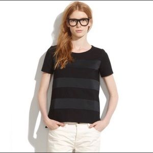 Madewell Black Satin Stripe Short Sleeve Top